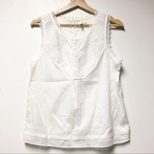 Frenchi White Lace Cotton Tank Size Medium